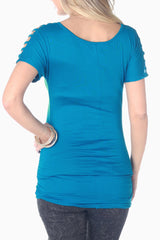 Teal Open Sleeve Maternity Top