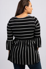 Black Striped Peplum Ruffle Plus Top