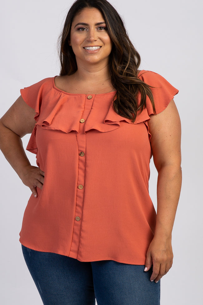 Rust Button Accent Flounce Plus Maternity Top