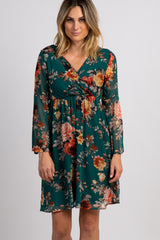 PinkBlush Forest Green Floral Chiffon Wrap Dress