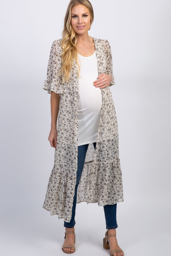 Cream Floral Chiffon Long Maternity Cover Up