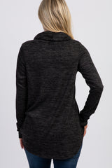 Charcoal Drawstring Cowl Neck Maternity Top
