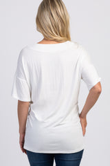 Ivory Swiss Dot Neckline Maternity Top