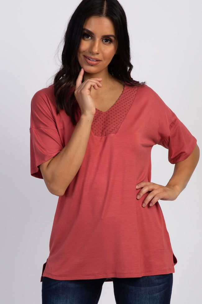 Mauve Swiss Dot Neckline Maternity Top