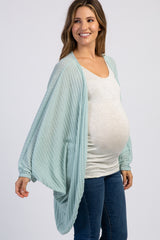 Mint Ribbed Long Sleeve Draped Maternity Cardigan