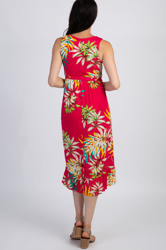 PinkBlush Fuchsia Tropical Print Hi-Low Ruffle Dress