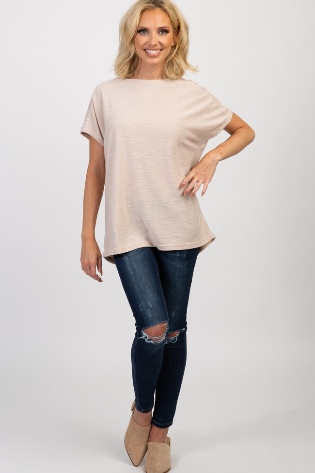 Taupe Solid Dolman Sleeve Crochet Top