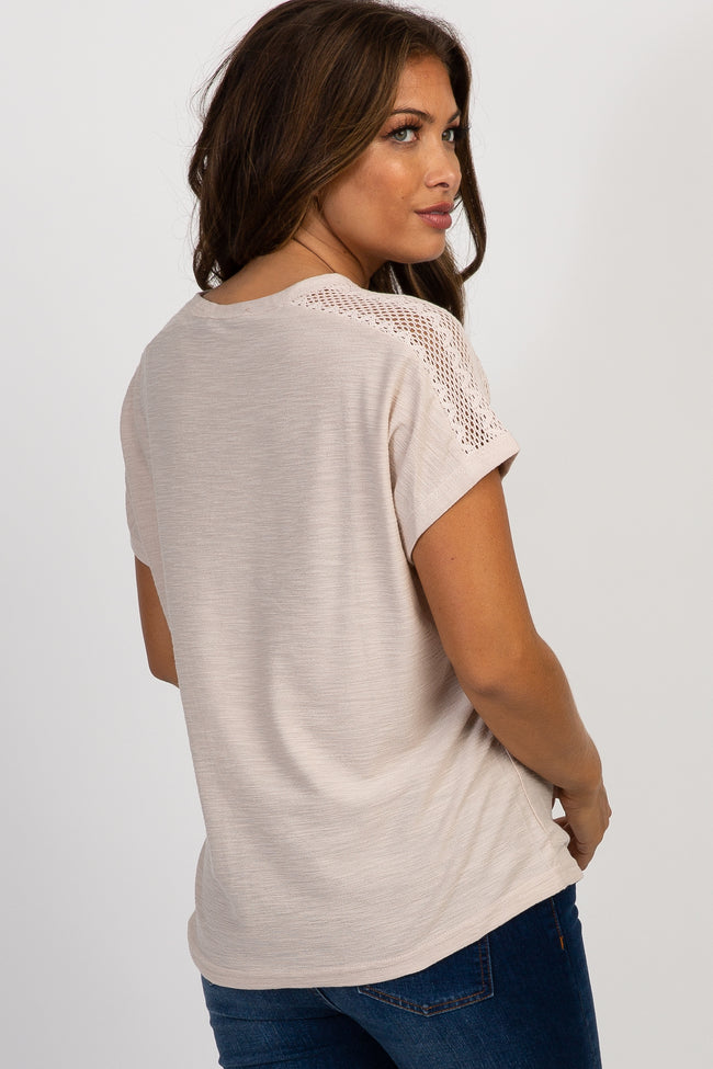 Taupe Solid Dolman Sleeve Crochet Maternity Top