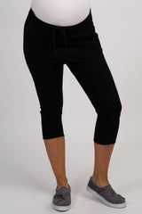 Black Cropped Raw Hemline Maternity Pants