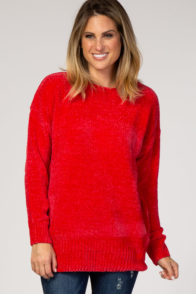 Red Crew Neck Chenille Maternity Sweater