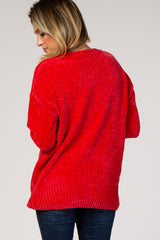Red Crew Neck Chenille Sweater