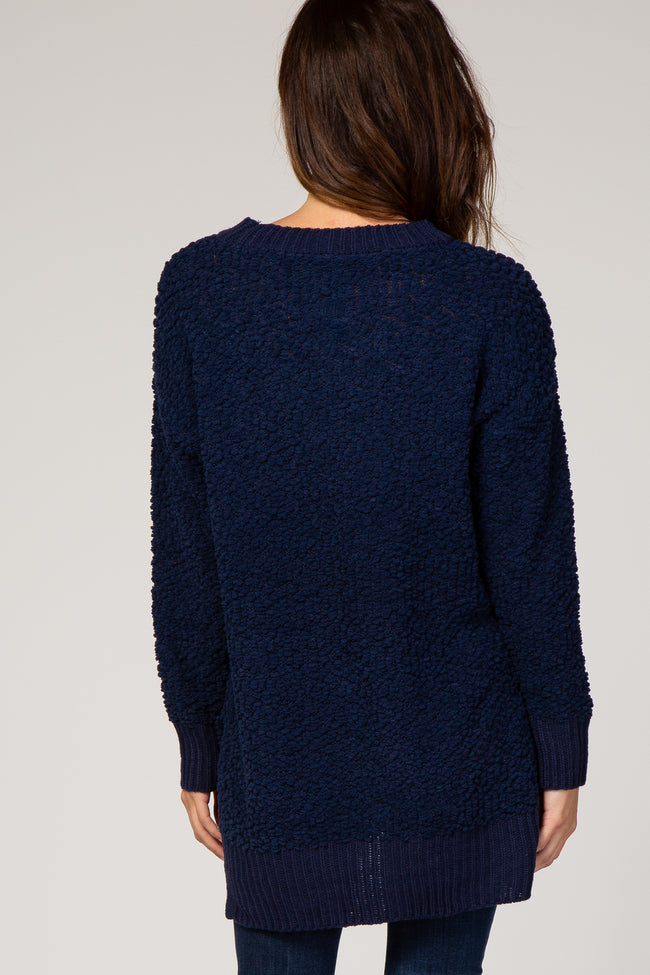 Navy Blue Popcorn Knit Sweater