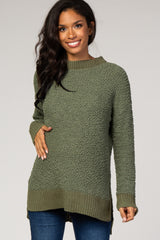Olive Popcorn Knit Maternity Sweater