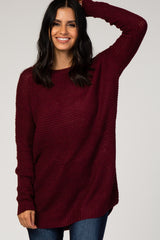 Burgundy Knit Hi-Low Sweater