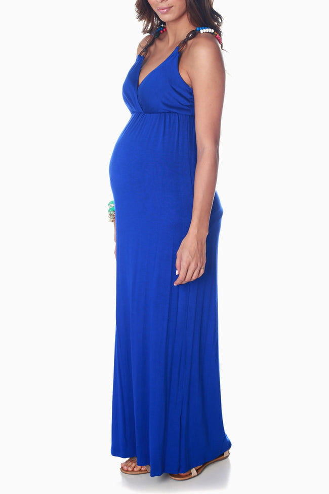 Royal Blue Beaded Strap Maternity Maxi Dress