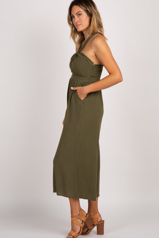 Olive Cross Strap Jumpsuit