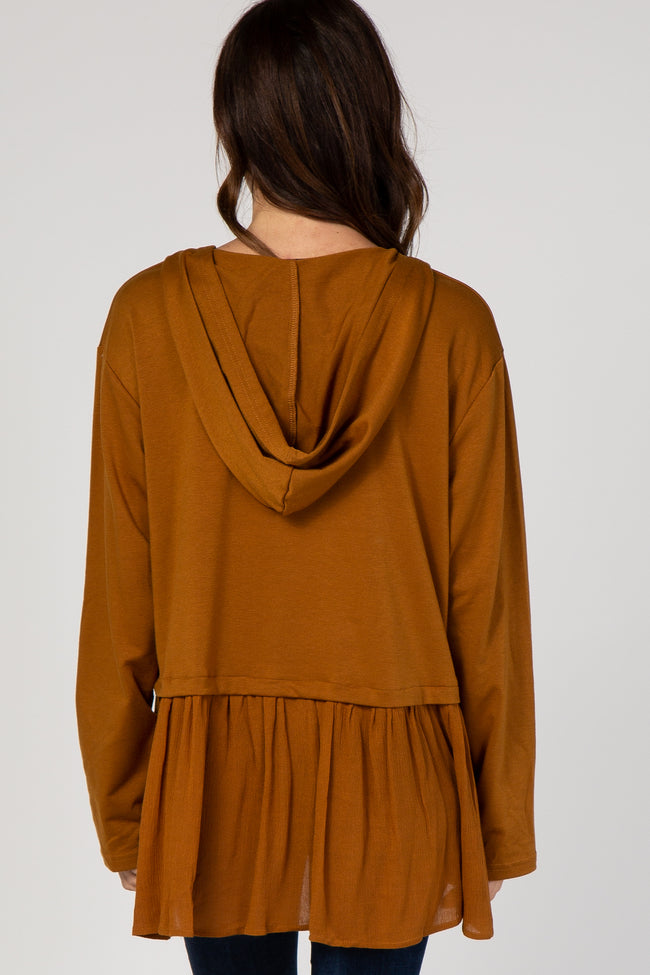 Camel Hooded Ruffle Trim Top