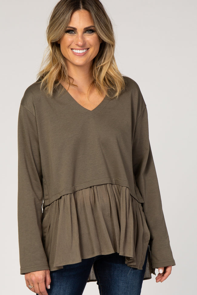Olive Green Hooded Ruffle Trim Maternity Top