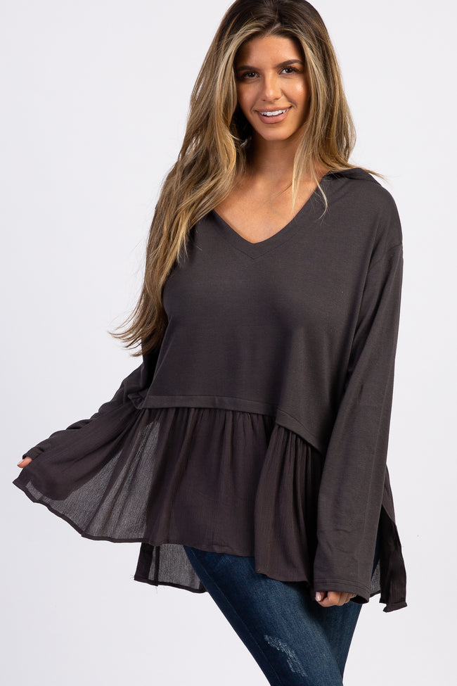 Charcoal Grey Hooded Ruffle Trim Top