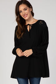 Black Embroidered Puff Sleeve Blouse