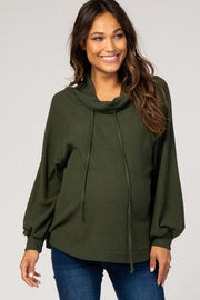 Olive Green Waffle Knit Wide Funnel Neck Maternity Top