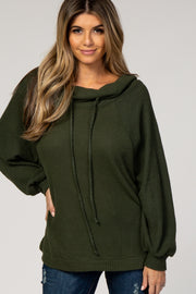Olive Green Waffle Knit Wide Funnel Neck Top