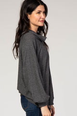 Charcoal Grey Waffle Knit Wide Funnel Neck Top