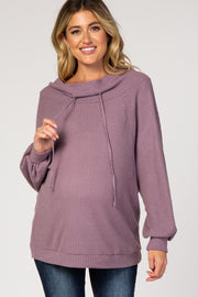 Lavender Waffle Knit Wide Funnel Neck Maternity Top