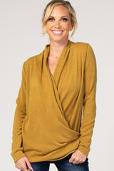 Mustard Knit Long Sleeve Maternity Wrap Nursing Top