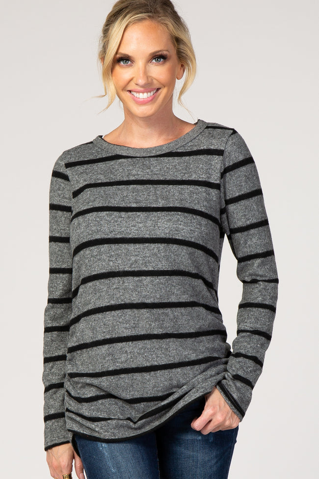 Charcoal Striped Ruched Fleece Maternity Top