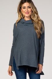 Blue Cowl Neck Long Sleeve Maternity Top