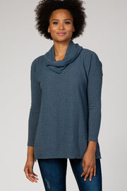 Blue Cowl Neck Long Sleeve Top