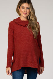 Red Cowl Neck Long Sleeve Maternity Top