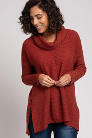 Red Cowl Neck Long Sleeve Top