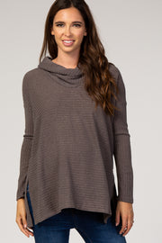 Mocha Cowl Neck Long Sleeve Maternity Top