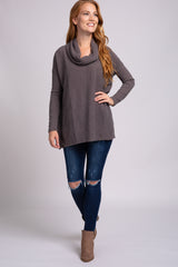 Mocha Cowl Neck Long Sleeve Top