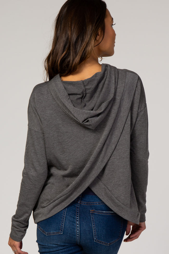 Charcoal Wrap Back Maternity Hoodie