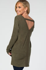 Olive Keyhole Back Long Sleeve Maternity Top