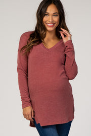 Red Keyhole Back Long Sleeve Maternity Top