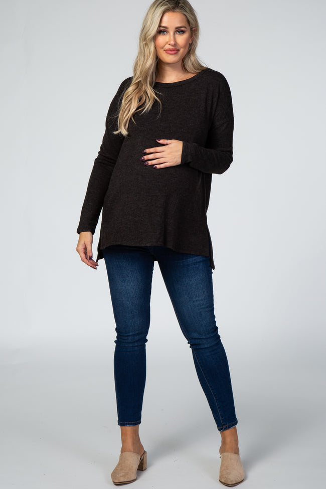 Black Soft Brushed Crisscross Back Maternity Top
