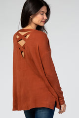 Rust Soft Brushed Crisscross Back Top