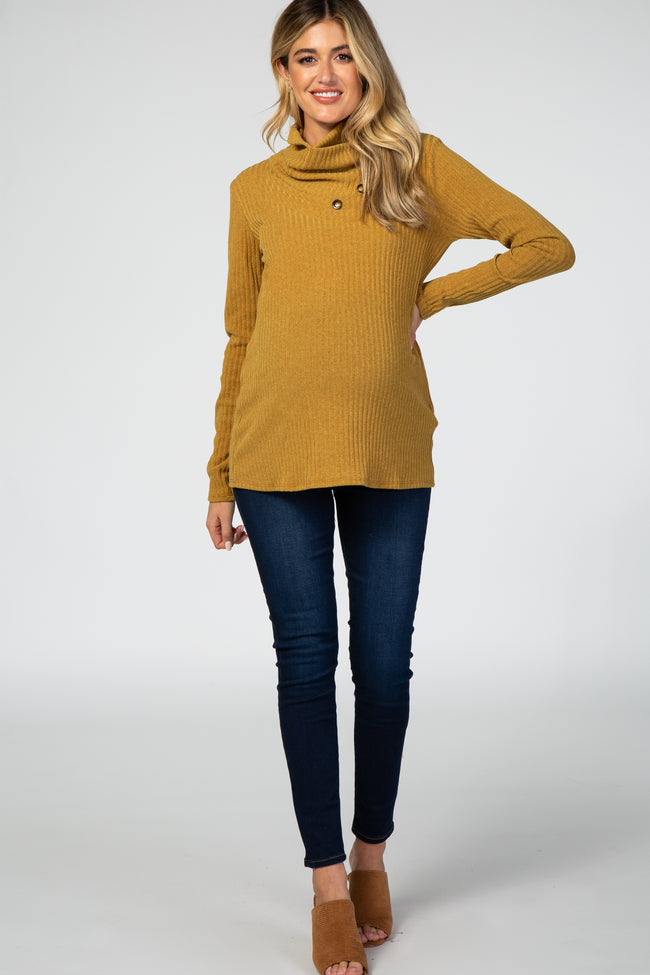 Yellow Rib Buttoned Cowl Neck Maternity Top