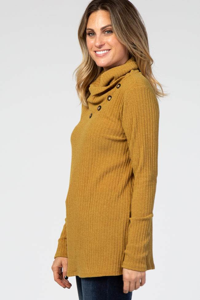 Yellow Rib Buttoned Cowl Neck Top