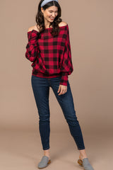 Red Checkered Long Sleeve Top