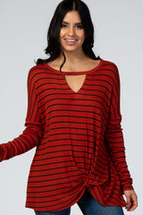 Rust Striped Front Keyhole Draped Hem Top