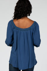 Blue Lace Trim Detail Square Neck Woven Maternity Top