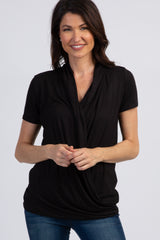 PinkBlush Black Pleated Wrap Accent Nursing Top