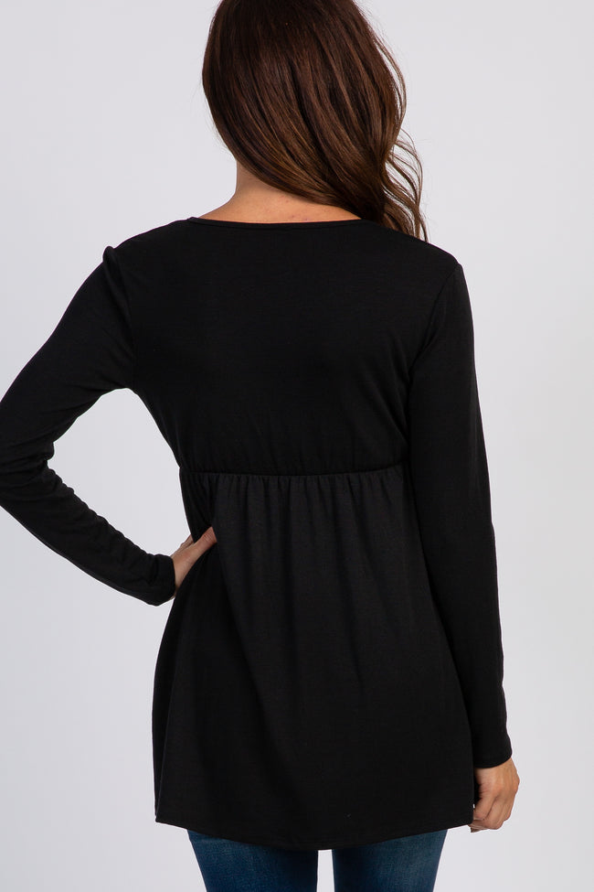 PinkBlush Black Long Sleeve Wrap Front Nursing Top