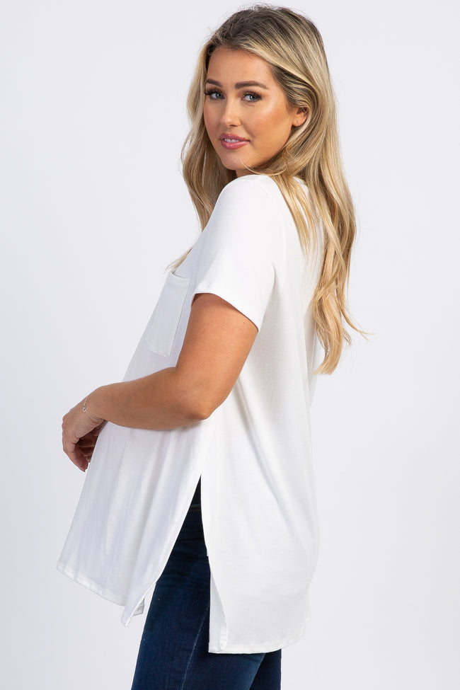 PinkBlush White Pocket Front Layered Slit Side Maternity Top