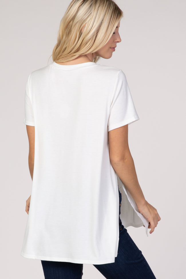 PinkBlush White Pocket Front Layered Slit Side Top